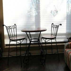 Bistro Set - solid wood and wrought iron