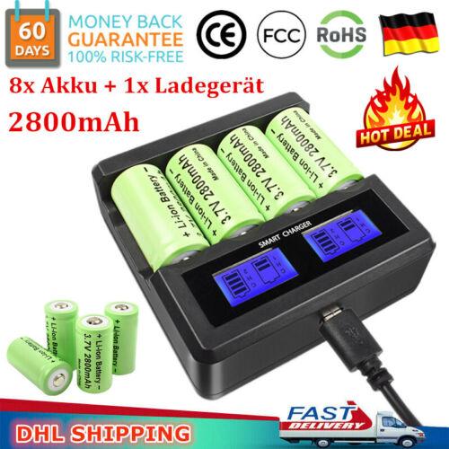 8x 2800mAh CR123A 16340 Wiederaufladbar Akku Batterien+Ladegerät für Arlo Kamera