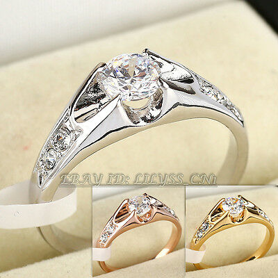A1-R024 Engagement Wedding Band Ring 18KGP Rhinestone CZ Crystal Size 5.5-10