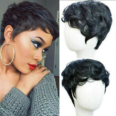 Short Natural Black Pixie Curly Human Hair Wig Black Women Afro Synthetic Wig US Black Pixie Adult Wig