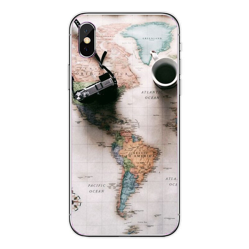 World Map Travel Just Go Soft Clear Phone Case For Iphone 5 6 7 8 X XR XS MAX