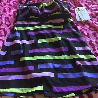 SLENDER THIGHS  8 RETRO SWIM SUIT DRESS REMOVEABLE STRAP NEW$89