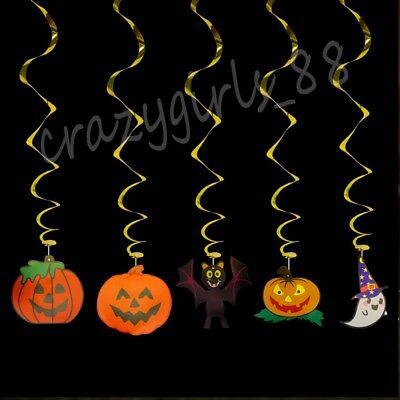 1/5Pcs Pumpkin Bat Ghost Spider Skull Pendant Garland Ceiling Halloween Decor (Plastic Pumpkin)