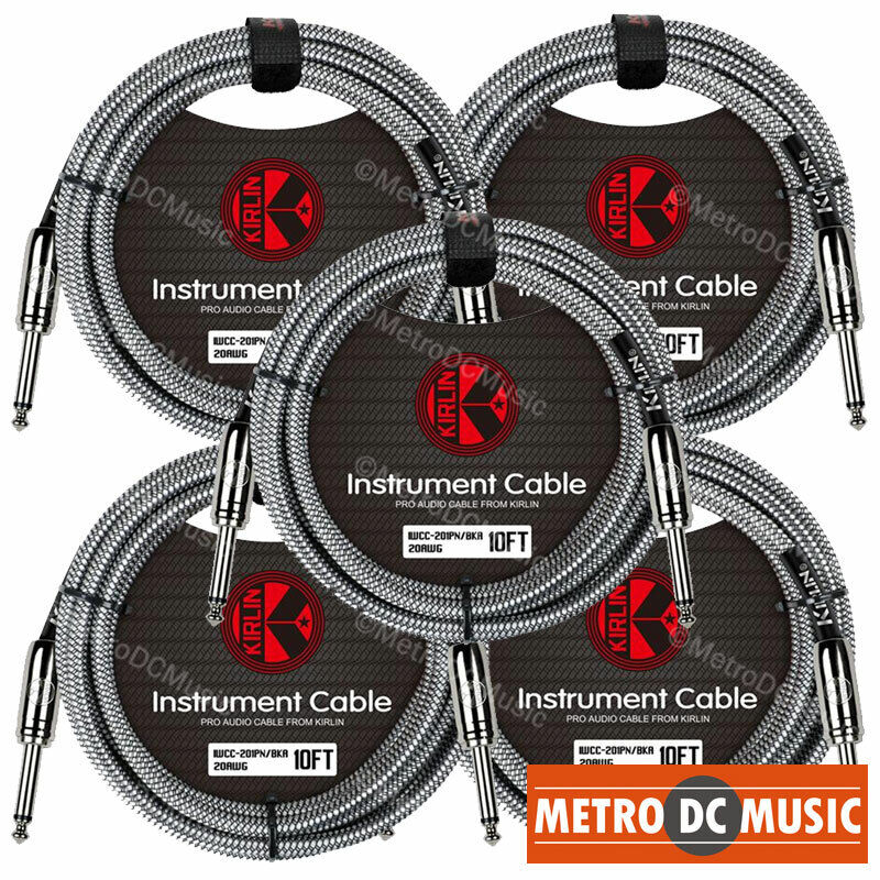 """5-Pack Kirlin 10ft Black Woven Guitar Bass Instrument Cord Cable 20AWG 1/4"""" NEW"""