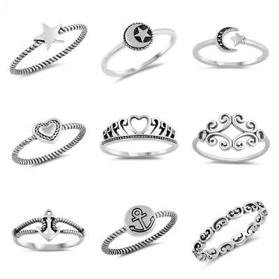 Anchor Heart (New .925 Sterling Silver- Moon & Star, Anchor, Heart, Filigree, Star Rings )