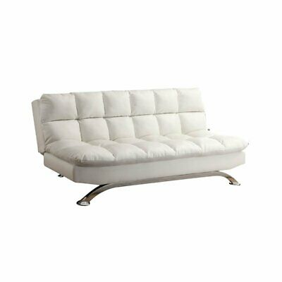 Bowery Hill Tufted Leather Sleeper Sofa Bed in White