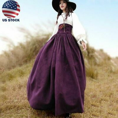Medieval Costumes Women (Women Dresses Medieval Vintage Costume Cosplay Skirt Lace Up Dress Halloween)