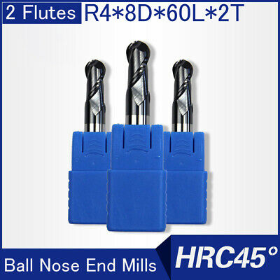 Hrc45 2flutes R4 Solid Carbide Ball Nose End Mills L 60mm