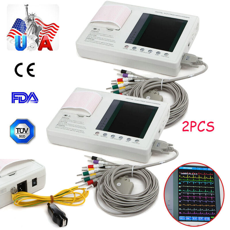 2sets FDA 12 lead/ 3 channel ECG EKG machine Electrocardiograph interpretation U