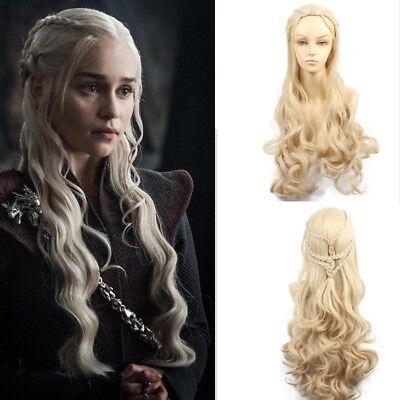 Game Of Thrones Daenerys Targaryen Cosplay Wig Long Blonde Wavy Braid Wigs for sale  China