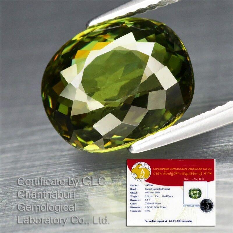 Big Rare! 5.06ct VVS Oval Natural Yellowish Green Demantoid Garnet *Certified