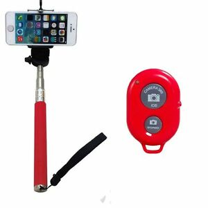 red selfie stick monopod bluetooth camera shutter remote for iphone samsung ebay. Black Bedroom Furniture Sets. Home Design Ideas