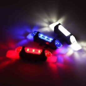 SALE 30% (1812) NEW, USB Rechargeable FRONT REAR LED BIKE BICYCLE FLASHLIGHT LIGHT LAMP