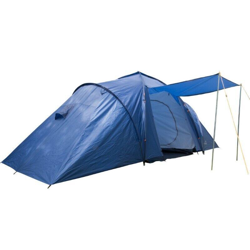 Campingzelt 4-6 Personen Zelt, blau, 2 Kabinen Familienzelt 2x5 m, Höhe 2m