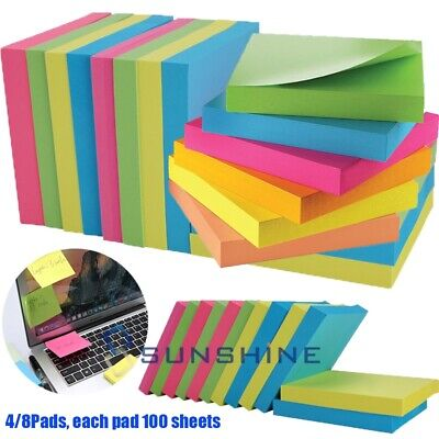 Self Sticky Notes Pop Up Memo Reminder Neon Assorted Colors 4 Pads 100 Sheets