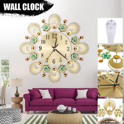 European Wall Clock Retro Flower Diamond Iron Creative For Living Mute Decor US