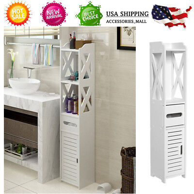 Unit Bathroom Toilet Furniture Cabinet White Wood Slim Shelf Cupboard Storage AM