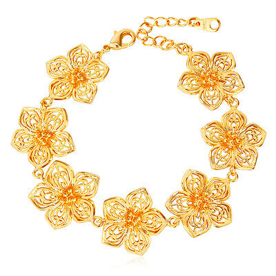Platinum Plated Charm - Beautiful Flower Charm Bracelet 18K Gold / Platinum Plated Jewelry for Women 9