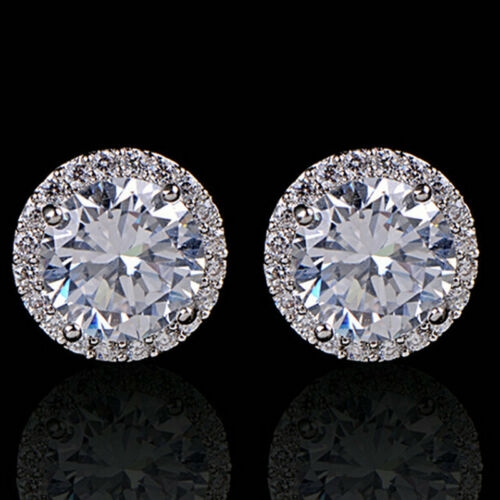 Jewellery - Women's 18K White Gold Plated Crystal Zircon Inlaid Ear Stud Earrings Jewelry
