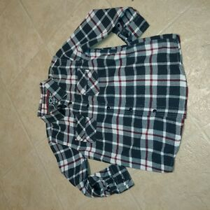 Boys Size 7/8 Long Sleeve Flannel Plaid Print Dress Shirt