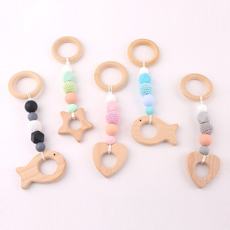 Wood Wooden Baby Teether Bracelet Crochet Beads Teething Ring Play Chewing Toy D