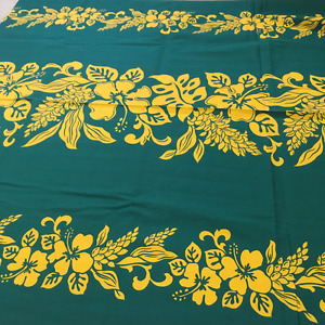 Tropical fabric - 3.75 yards green with yellow flowers & leaves