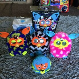 Furby Boom x 3 and one Party Rocker all Working VGC