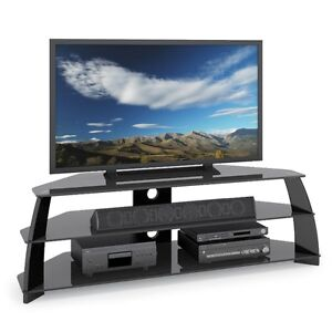 New: CorLiving Taylor Extra Wide Glossy Black TV Stand w/ glass Kitchener / Waterloo Kitchener Area image 1