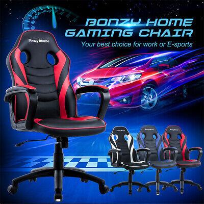 Racing Gaming Chair Ergonomic Design Leather Swivel Office Computer Desk -