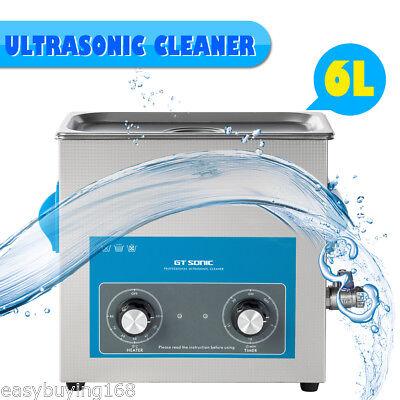6l Liter Industrial Ultrasonic Cleaner Timertemperature Adjustablebasket New