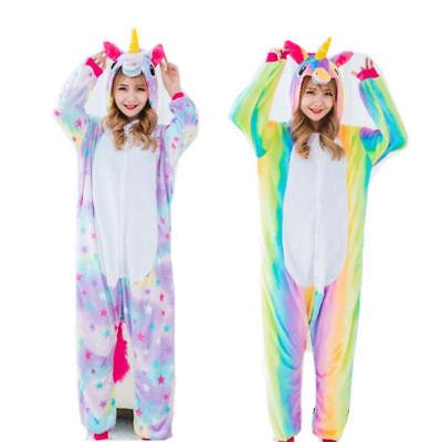 Rainbow Star Unicorn Sleepwear Kigurumi Pajamas Animal Cosplay Costume jump suit (Unicorn Suit)