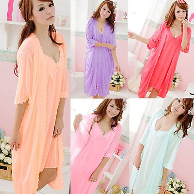 Trendy Hot Girls Sling Sleepwear 2pcs sleep Dress Silk Robe Nightgown - Trendy Robes