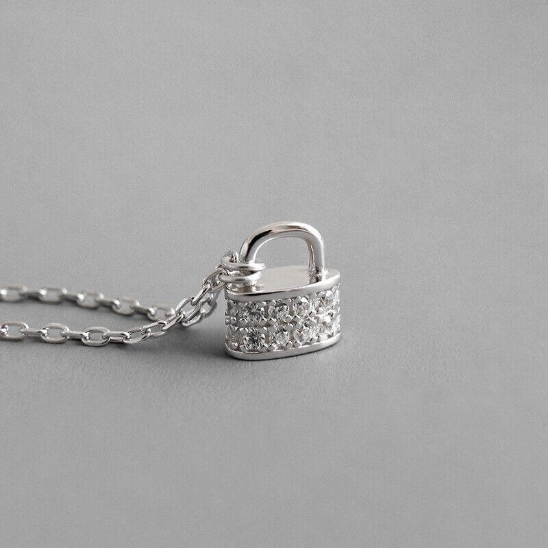 Woman S925 Sterling Silver Cute Mini Lock Simulated Diamond Pendant Necklace
