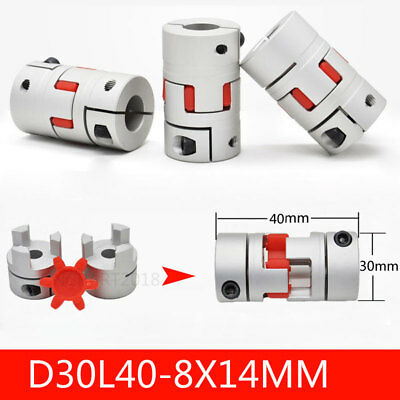 Us Motor Shaft Coupler 8 To 14mm Flexible Plum Coupling Spider Jaws D30xl40