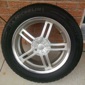 225 55 17 MICHELIN X-ICE on 5x114.3 FIVE SPOKE ALUMINUM RIMS