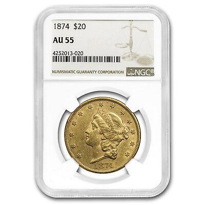 1874 $20 Liberty Gold Double Eagle AU-55 NGC - SKU#153601
