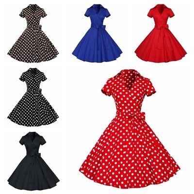 DE Retro Hepburn Style Frauen Swing Kostüm Rockabilly Hausfrau Kleid Größe M-XXL