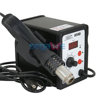 Hot Air Gun 858D Digital Rework Station Smd Solder Blower W 3 Nozzles 700W 110V