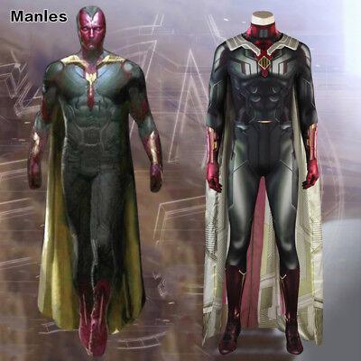 Avengers 3 Infinity War Vision Cosplay Costume Halloween 3D Printed Jumpsuit  (3d Printed Halloween Costume)