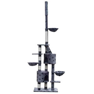 90-102inch Dual Condo Cat Tree Gray w/Paw-Print