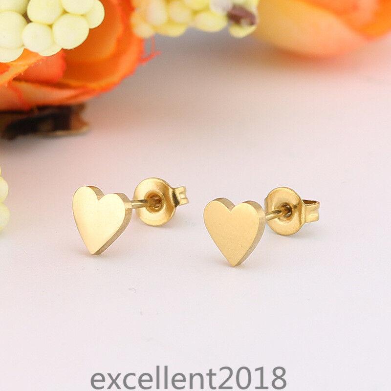 Women 18K Gold Plated Stainless Steel Love Heart Polish Stud