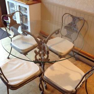 Vintage Wrought Iron Glass Top Dining Table and 4 Chairs
