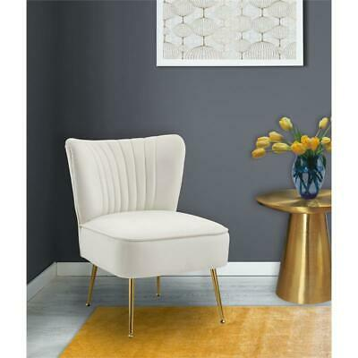 Meridian Furniture Tess Cream Velvet Accent Chair with Gold Legs 1