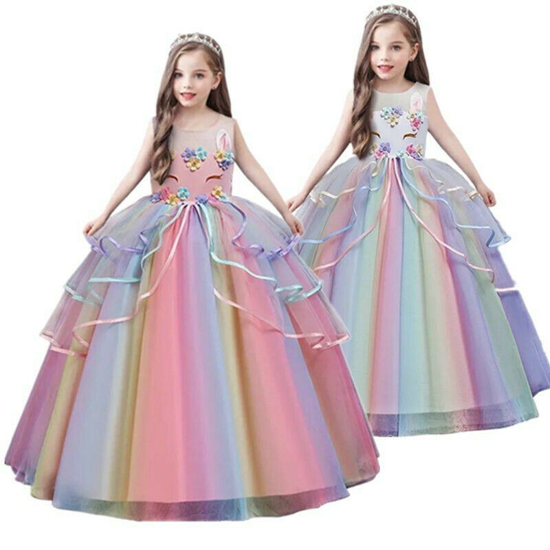 Rainbow Flower Girl Unicorn Long Gown Baby Kids Birthday Party Dresses Size 5-14