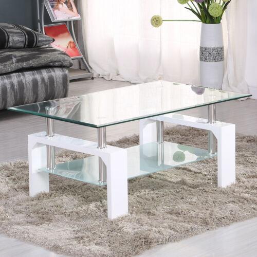 Modern Glass Coffee Table Rectangular w/ Shelf White Leg Liv