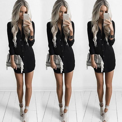 Women Lapel Button Down Mini Shirt Dress Casual Long Sleeve Boyfriend Blouse Top ()