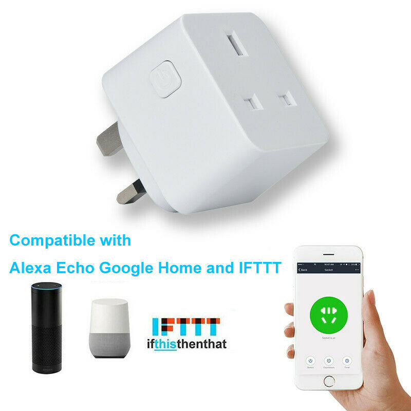 UK Smart Plug Wifi Outlet Compatible for Alexa Echo Home Wit