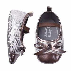 bnwt infant baby silver sequin dress shoes 0 6 12 18
