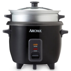 Aroma 3 Cups Uncooked/6 Cups Cooked Rice Cooker, Steamer, Silver