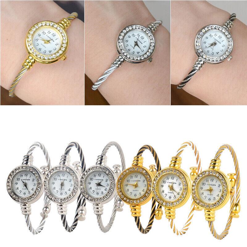 Fashion Women Girl Cuff Steel Wire Crystal Quartz Bracelet B